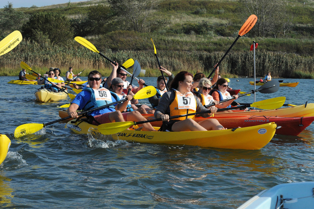 More than 70 paddlers hit the water in Island Park to participate in the 12th annual race, hosted by Empire Kayaks.