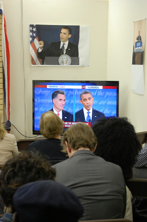 About 50 people gathered at the Obama call center on Brooklyn Avenue in Valley Stream to watch the first presidential debate between Barack Obama and Mitt Romney on Oct. 3.