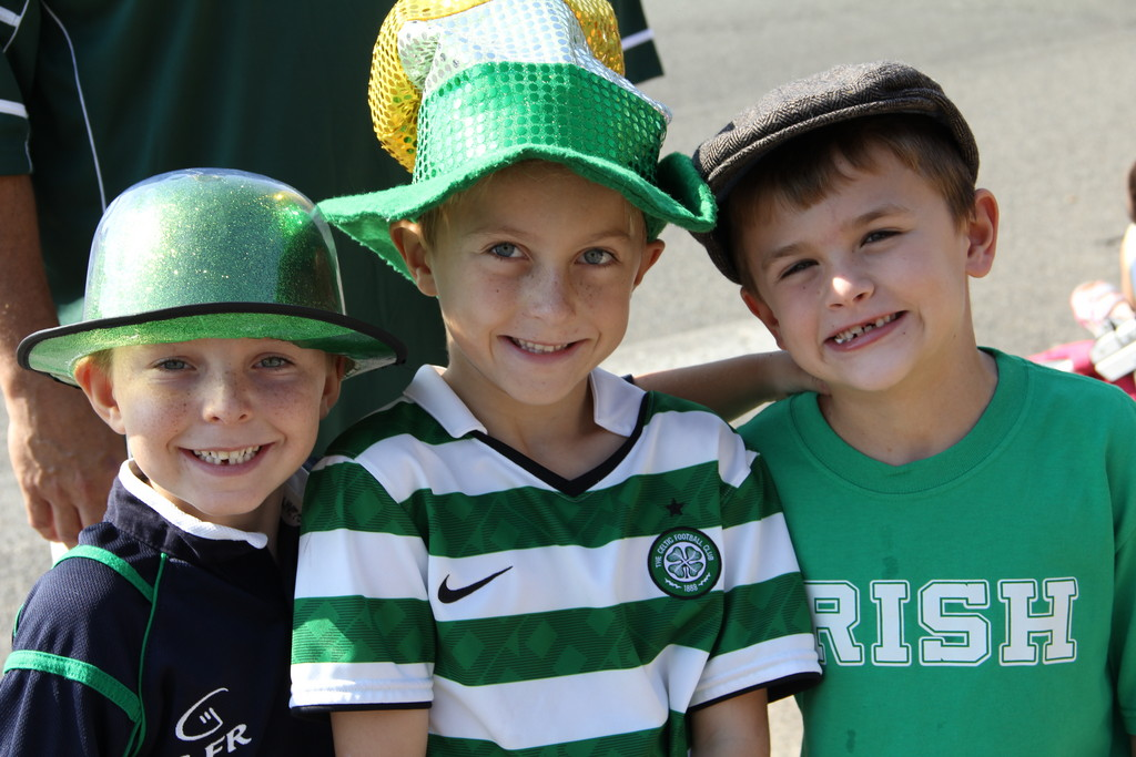 Jacob Spalter, left, Michael Parroll and Thomas Wheeler were decked out in green for Irish Day.