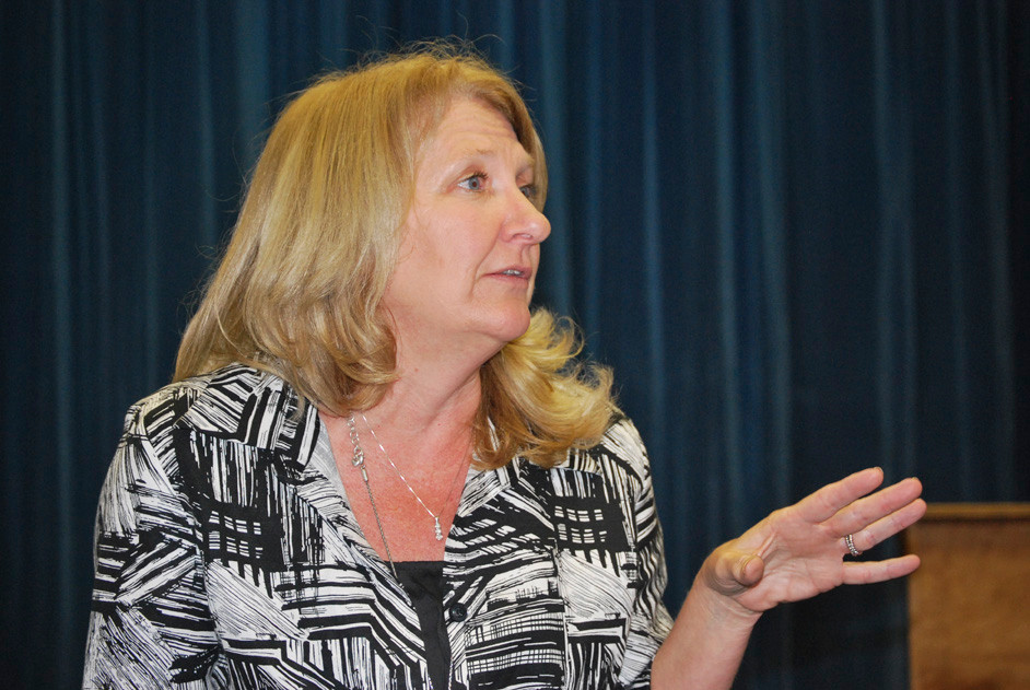Dr. Ann Pedersen, Lawrence School District's assistant superintendent for academic affairs and Number Four School principal, spoke about the importance of instilling confidence in students at the first of four district town hall meetings.