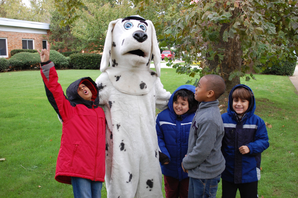 Sparky the Fire Safety dog greeted students at the Forest Road School on Oct. 12 as part of Fire Prevention Month.