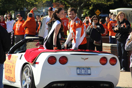 Senior Court members Shannon O'Connell and Matthew Lucito rode down the parade route at Carey's Homecoming parade on Saturday.