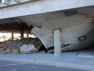 On April 6, a section of ceiling at the eastern end of the high school's ground-level parking lot fell to the ground.