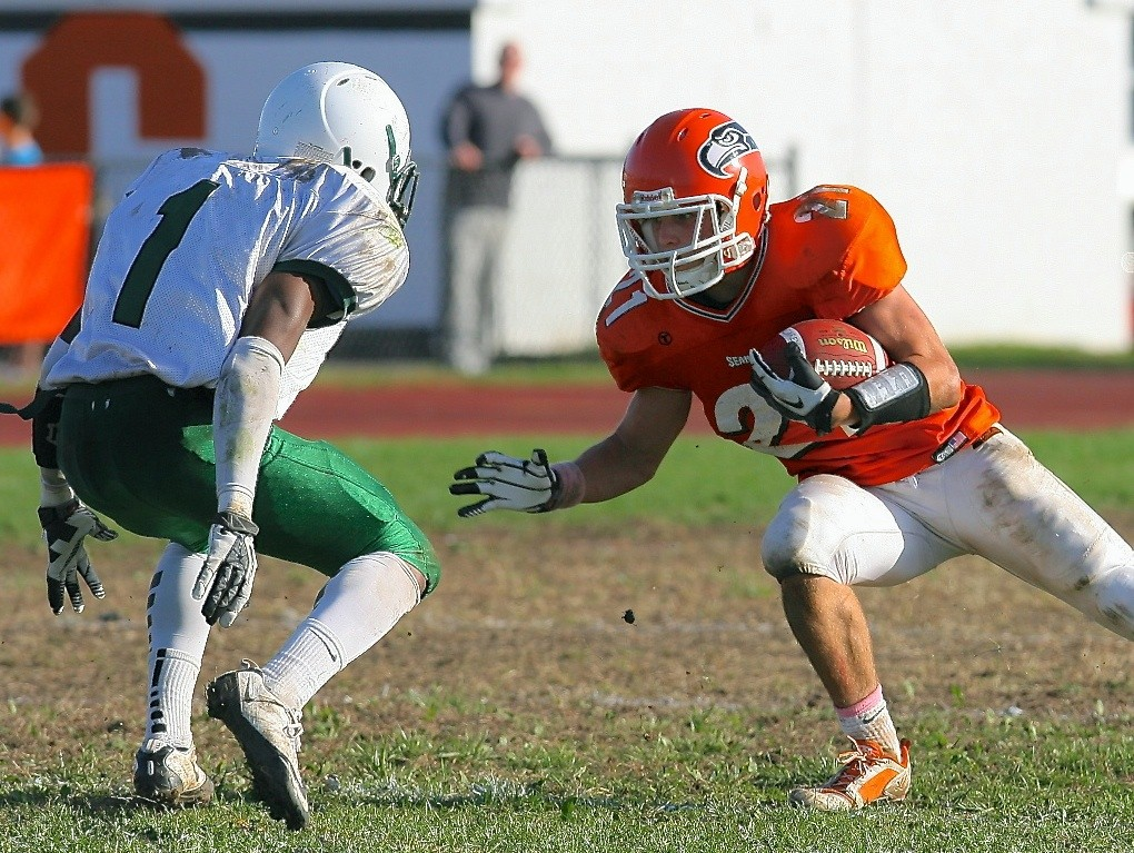 Carey's Matt Robison, right, had receiving and rushing touchdowns in Saturday's win over Elmont.