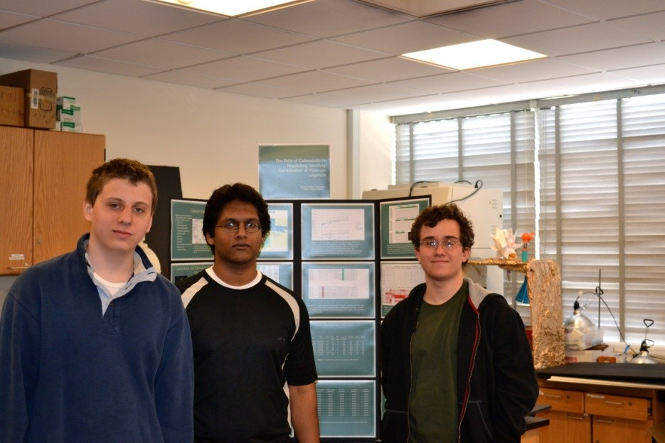 Hewlett High's own laboratory allowed the talents of Valery Zajkov, left, Shovon Hasan, center, and Benjamin T. Kramer, to flourish and earn semifinalist status.