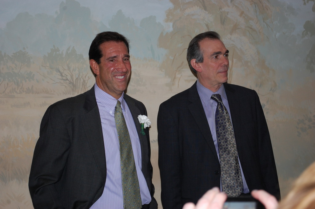 Jay Greenbaum, left, past president of the Peninsula Counseling Center's Board of Directors, was one of three honorees. He is joined by PCC Executive Director John Kastan.