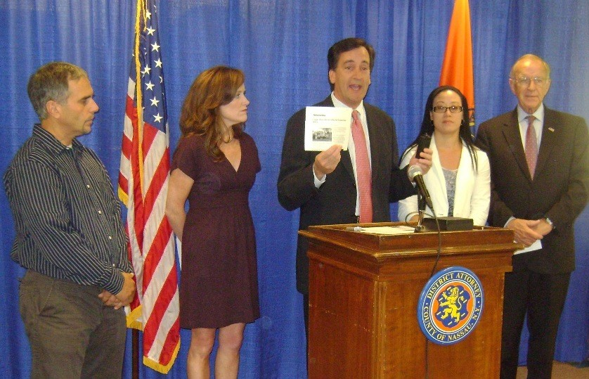 New York State Sen. Charles Fuschillo Jr., of Merrick, showed how an ignition interlock can be used to prevent a drunk driver from getting behind the wheel of a school bus. He was joined by, from left, Al Belbol Jr., co-president of the Levy-Lakeside Elementary School PTA in Merrick; District Attorney Kathleen Rice; Susan Walpole, co-president of the Mandalay Elementary School PTA in Wantagh; and Assemblyman David McDonough.