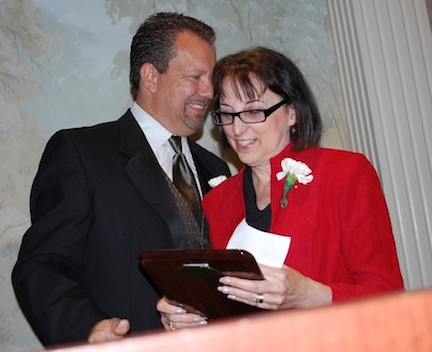 Valley Stream Chamber of Commerce President Debbi Gyulay, joined by Mayor Ed Fare, was the recipient of the Leadership Award.