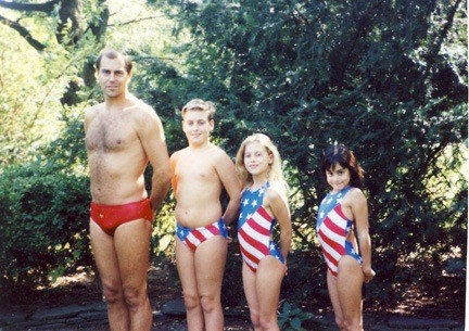 Saint-Amour and her family have always shared a love of swimming. RC, at right, pictured here in a 1992 photo, eventually swam the English Channel in 2009 with her dad, Craig, left, and sister, Melissa. Also pictured is RC's brother, Scott.