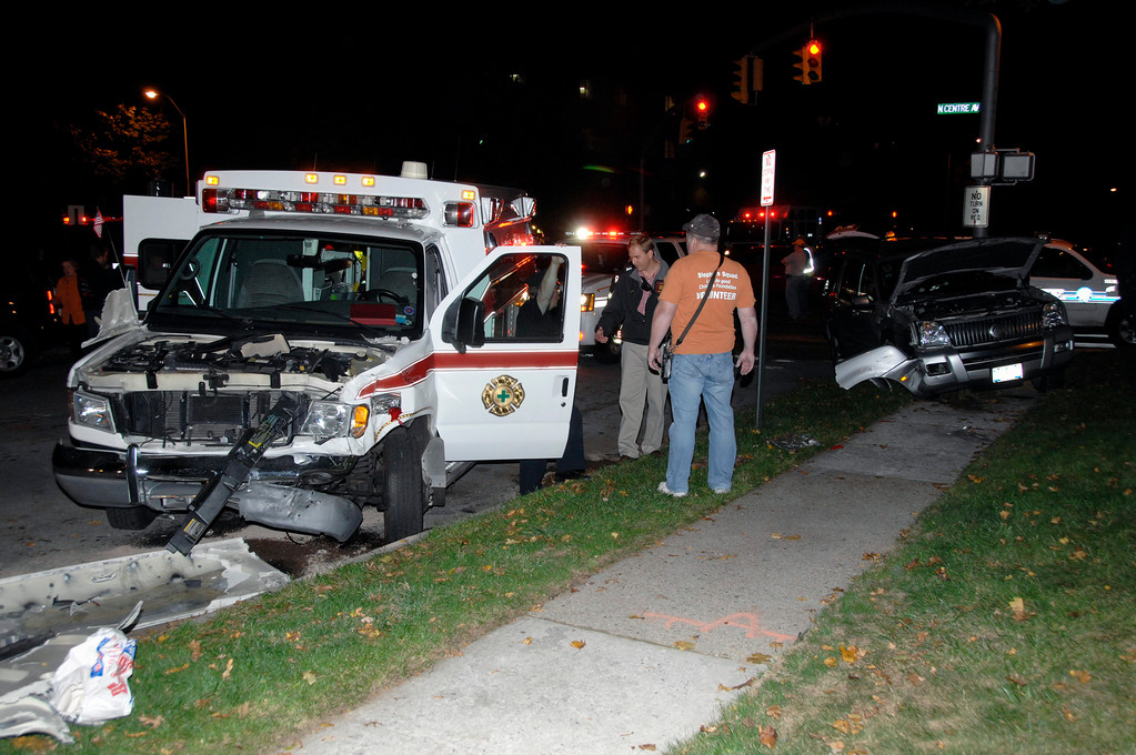 A village Fire Department ambulance was involved in a three-vehicle accident on Monday night that closed the intersection of Maine and Center avenues for more than an hour.