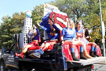 East Meadow High School juniors used a Superman theme for their float.