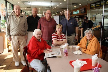 Jay Gold, second from left, with breakfast regulars Bob Haskin, Marty Logan, Dick Conlon, Annamae Conlon, Marilyn Fitzpatrick and Eleanor Saville.