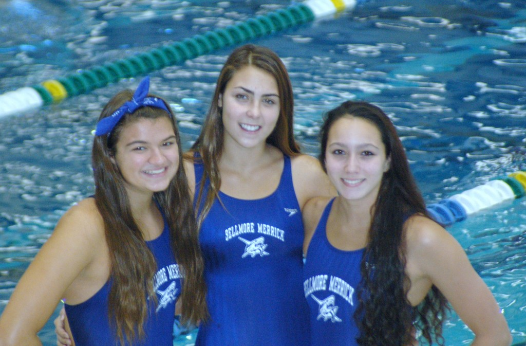 Meaghan Soel (Mepham), Kate Cornman (Kennedy) and Gabbie Toback (Calhoun), Bellmore-Merrick�s three captains, cheered their teammates on at the meet against Garden City.