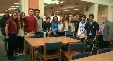 Rabbi Neil Kominsky, far right, OHS Class of 1962, Meets with Ms. Julia Nappi's Social Studies Class