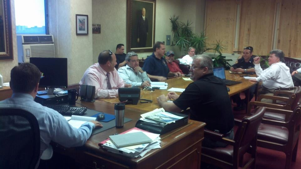 City officials held a meeting with Nassau County Office of Emergency Management officials and other agencies to prepare for the storm