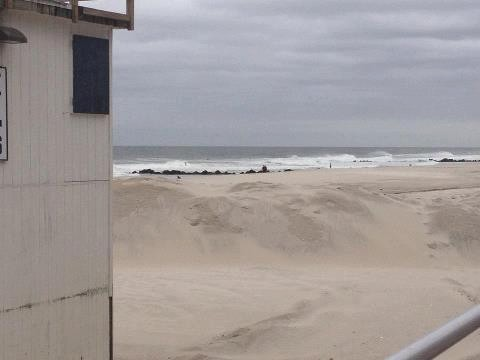 The city constructed berms along its beaches, including in front of Lifeguard Headquarters at National Boulevard, which was lifted off its foundation last year during Tropical Storm Irene.