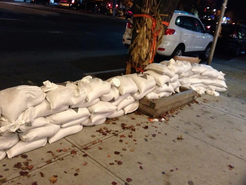 Sandbags were piling up outside area businesses and homes in preparation for the coming storm.