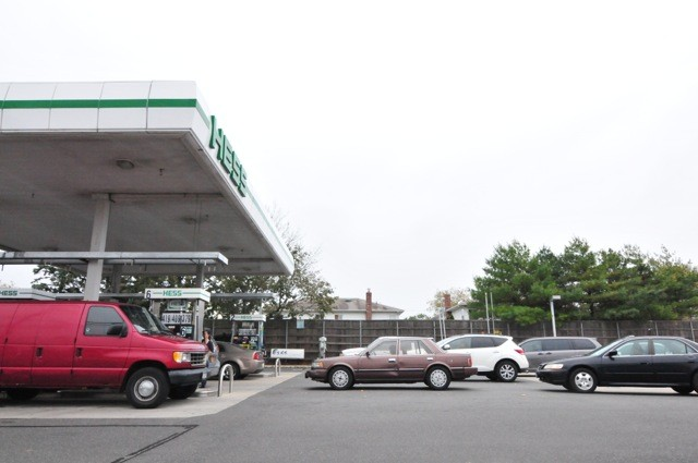 Residents of Island Park gassed up at the local Hess station in preparation for the storm, causing long lines.