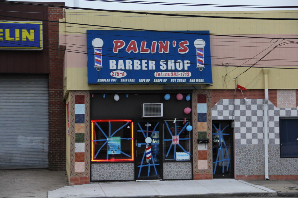 This barber shop in West Hempstead was prepared for Sandy.