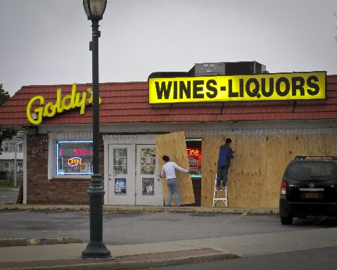 Boarding up at Goldy's on Main Street in East Rockaway.