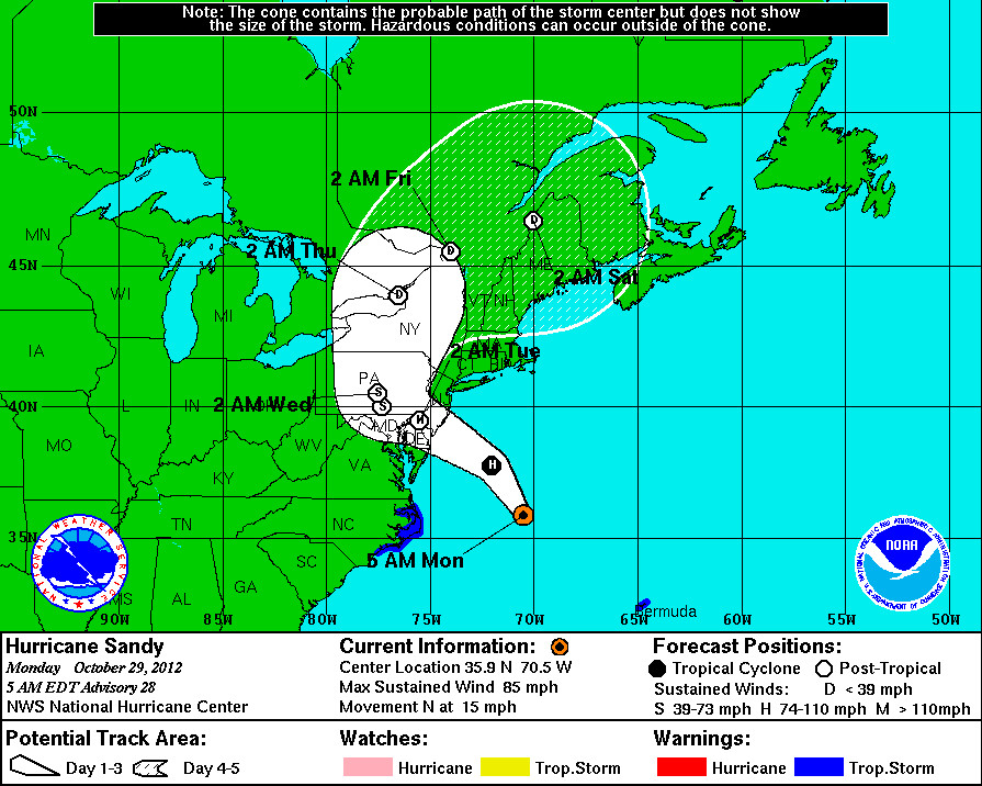 The above was the National Hurricane Center's storm track map, issued at 5 a.m. on Monday