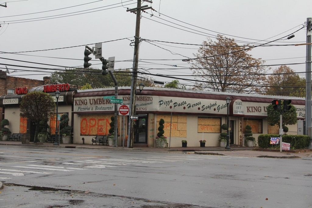 Umberto's in Franklin Square was boarded up and ready for Sandy. The restaurant plans to remain open as long as possible.