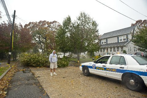 Tree down at the Lores home on Vincent Ave. in Lynbrook.