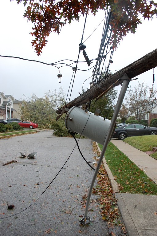 White Street was one of the hardest hit in the village, with two telephone poles and four trees falling down.
