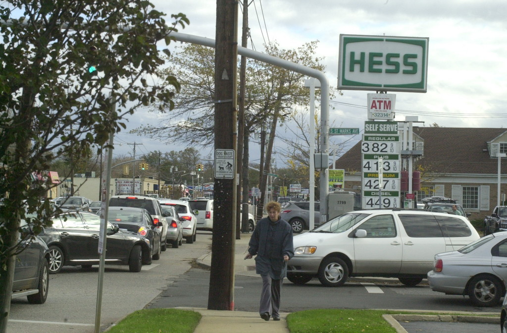 The line at the Hess gas station in Bellmore extended for several blocks. Hess was the only station with power and open in the area.