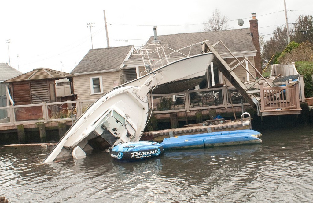 A boat capsized in the Bay Park canal due to high winds and tidal surges.