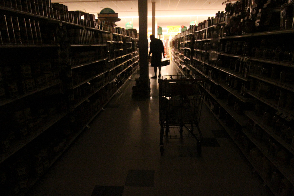 Shopping in the dark at the Stop N Shop on Brunside Avenue in Inwood.
