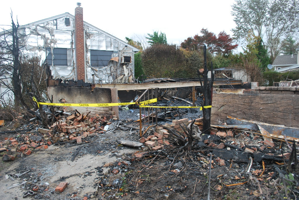 A house burned to the ground within a few minutes of a transformer blowing up.