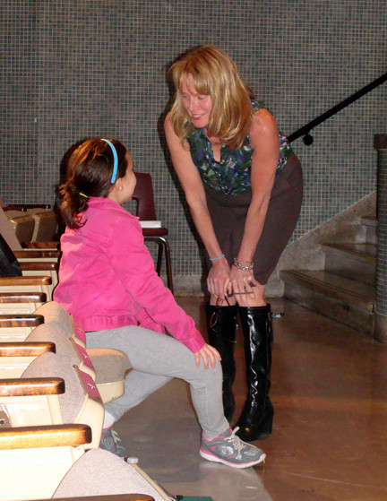 Eileen Goggin chatted with her daughter, Natalie, during a break in rehearsals.