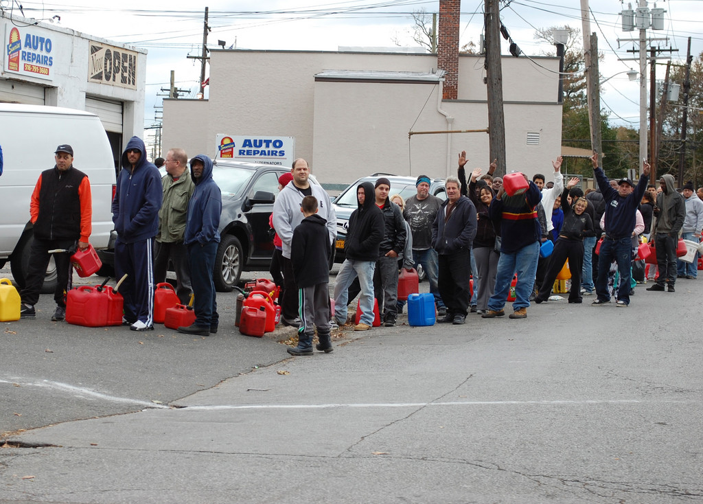 People lined up to get gas along Sunrise Highway in Valley Stream on Nov. 1.