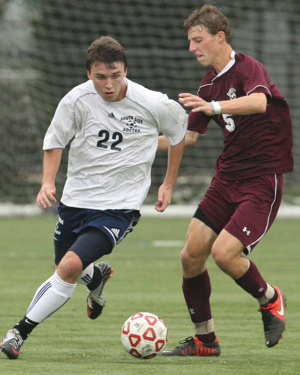 Dane Flaherty, left, opened the scoring in South Side's playoff win over West Hempstead.