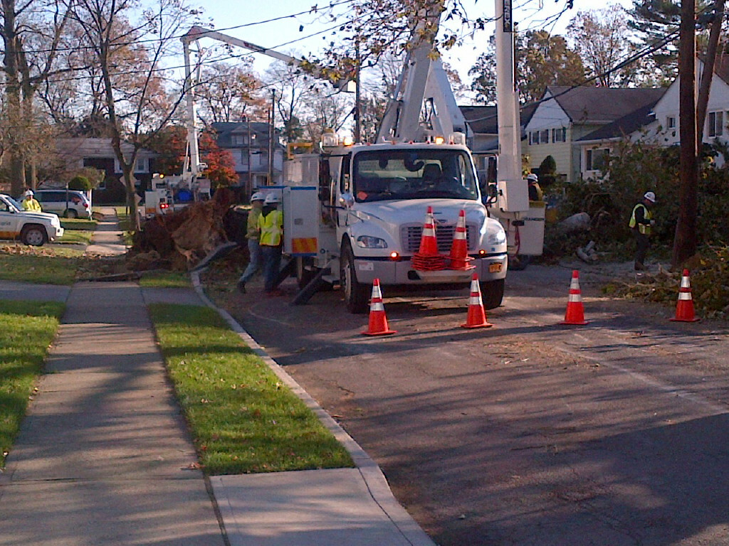 LIPA workers restored power to Shari Lane on Monday afternoon.