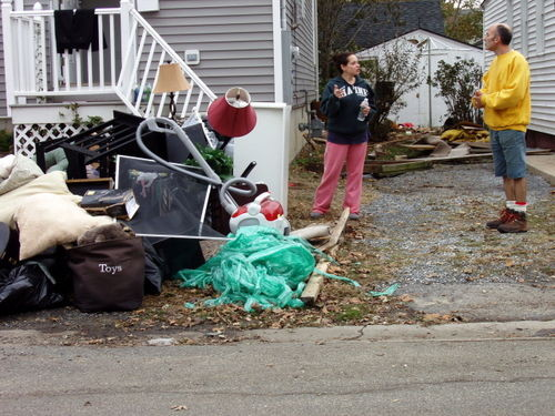 The contents of their Bay Park homes were on the sidewalk after the storm.