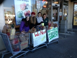 Helping hands: Tenth-graders from Lynbrook High School spent several days collecting non-perishables, baby food, toiletries, clothes, pet supplies, and cash donations during their time off from school due to Hurricane Sandy. King Kullen in Hewlett was gracious to allow them a spot in front of their store where shoppers and passers-by placed their donations in the shopping carts.
