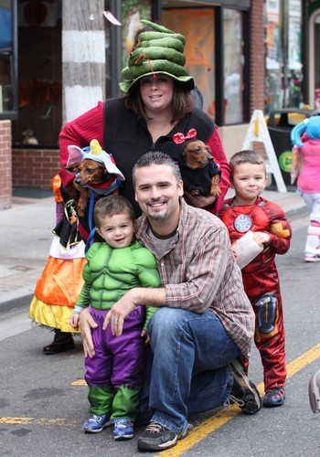 The Lonso family: Michael and Kathy, with their children Michael, 4, at right, and Matthew, 2, along with with their puppies Frankie and Chanel at Lynbrook's festivities.
