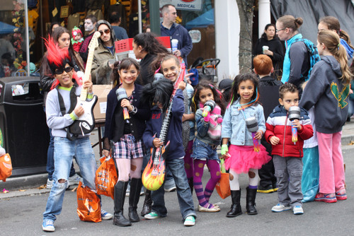 Rocking on in Lynbrook: Greg Bonifacio, 11, lef,t Marveline Clase, 9, Freddy Bautista, 6, Leah Cruz, 7, Gaby Cruz, 5, Arisleiny Clase, 5, and Emanuel Perez, 3, all dressed as rock stars for Halloween.