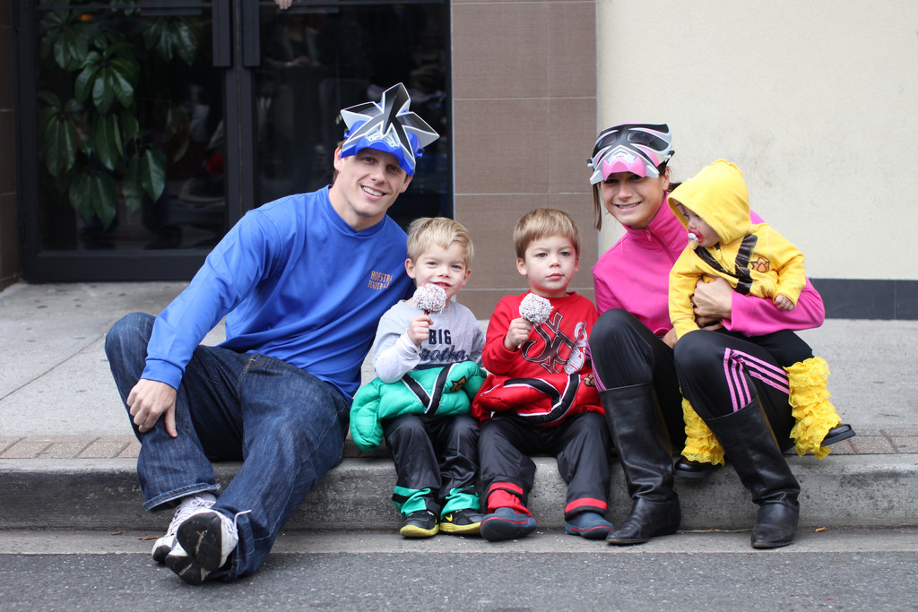 yan and Keely Coco with their twin boys Casey (left) and Cameron, age 3, along with their daughter, Charlotte, 10 months.  They dressed up as Power Rangers for the first time being a family of 5!