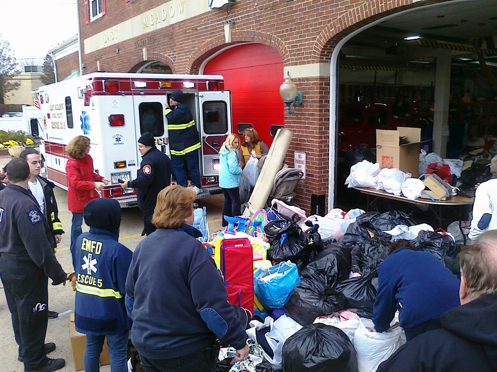 The department began a disaster relief drive on Sunday morning to collect items for the victims of Hurricane Sandy.