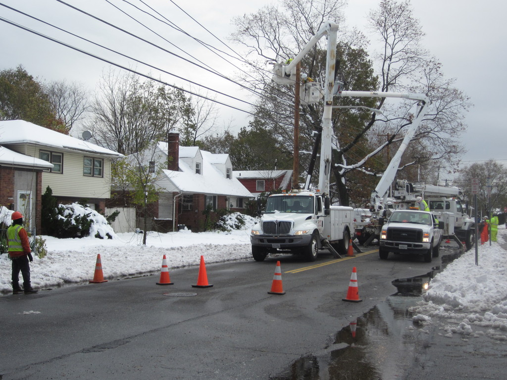 LIPA workers were fixing power lines on Prospect Avenue in East Meadow on Thursday afternoon