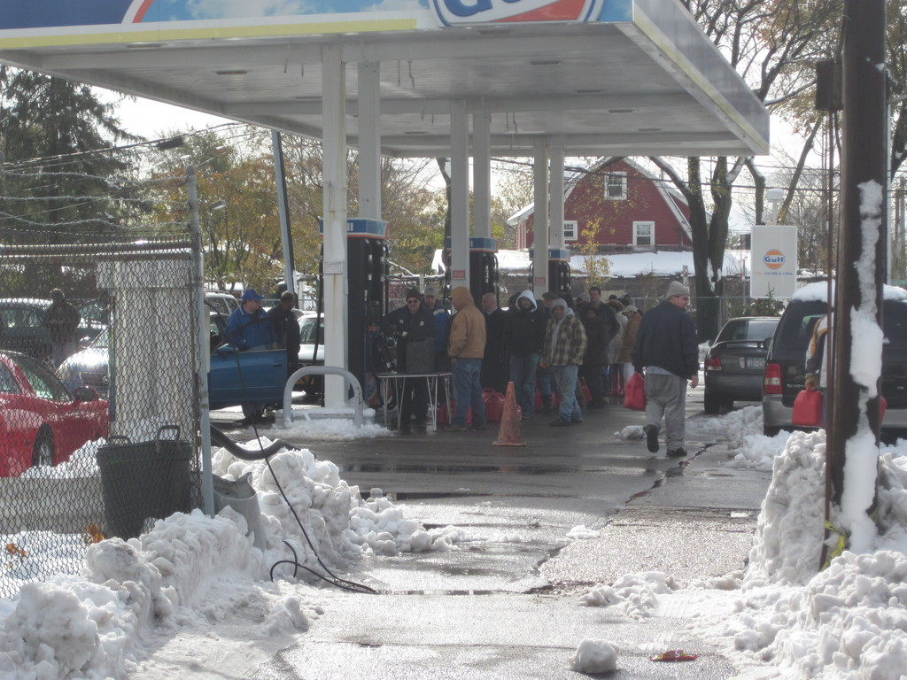 Wednesay's Nor'Easter didn't stop East Meadow residents from waiting outside for gasoline. This photo was taken at the Gulf Station on Front Street on Wednesday afternoon.