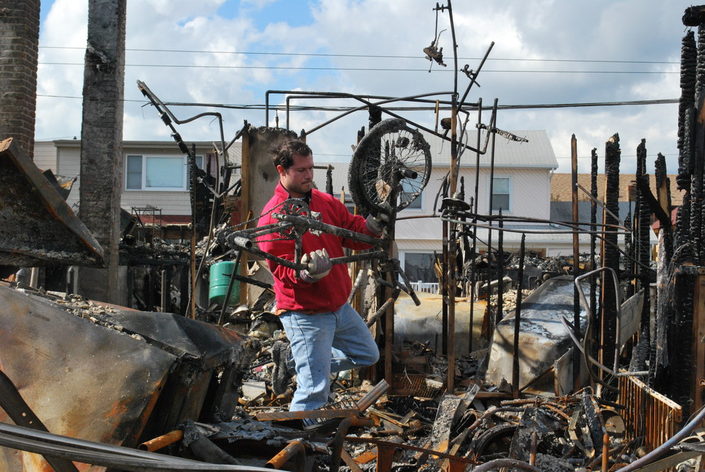 A fire in the Canals during Hurricane Sandy destroyed eight homes and put a number of Fire Department vehicles out of commission.