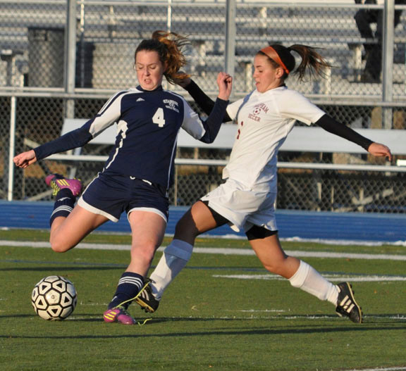 Senior Laura Dwyer, left, assisted on Oceanside's lone goal in last Friday's 2-1 Nassau Class AA quarterfinal playoff defeat to Mepham.