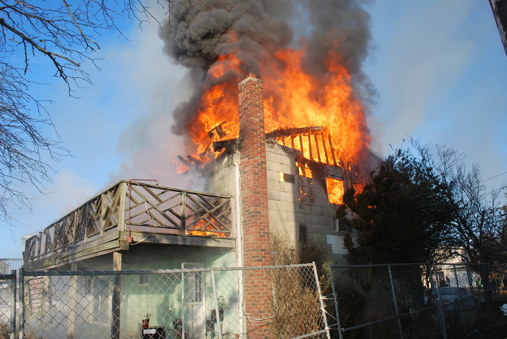 The Bellmore, North Bellmore, Merrick and Wantagh fire departments responded to a fire on Shore Road on Monday.