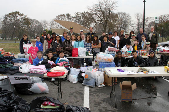 Members of Boy Scouts Troop 116, Valley Stream Memorial Junior High School�s World of Difference Club and Village Hall employees collected goods to send to victims of Hurricane Sandy last Saturday.