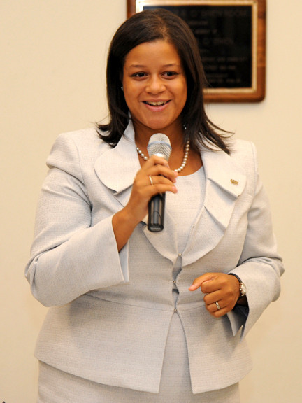 Michaelle Solages, speaking at the Aug. 30 primary debate, was the winner for the new 22nd Assembly District seat on Election Day.