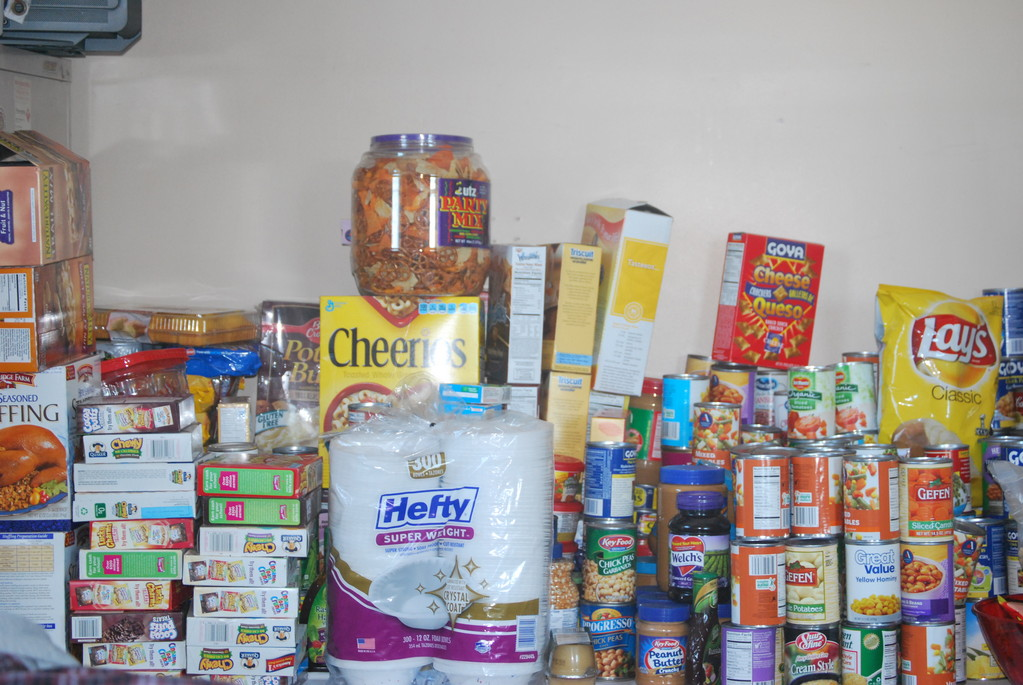 Food stockpiled in the Meadowmere Park chief's office has helped feed residents displaced by the storm.